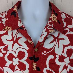 RJC Size XL Hawaiian Shirt Button Front S/S Red